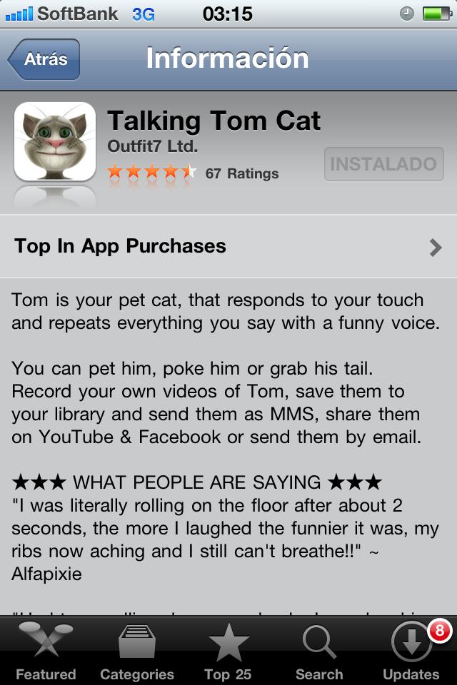 Aplicaci 243 n para iphone talking tom cat un gato que repite todo