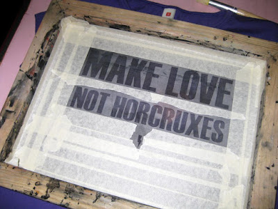 make love not horcruxes silkscreen t-shirt stencil