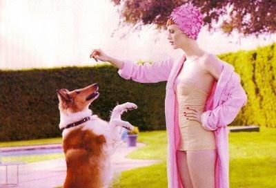 Karen Elson for Vogue, flowered swim cap