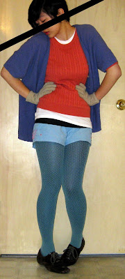 turquoise and coral outfit, teal layered tights, shorts, gloves, popcorn knit