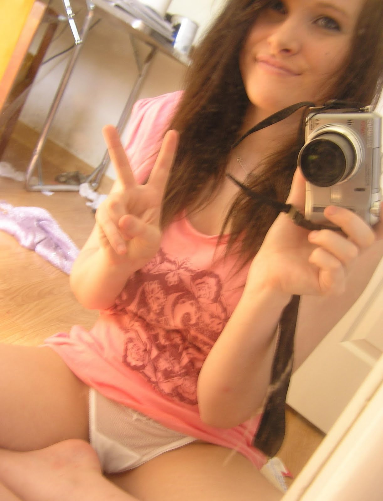 Cute Teen Girl Self Shot Bathroom