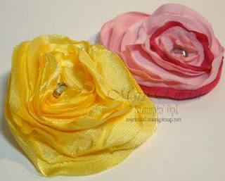 stampin up, big shot, fabric flower pins, heated flower