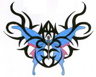 sketch butterfly tattoo tribal art design for lower back