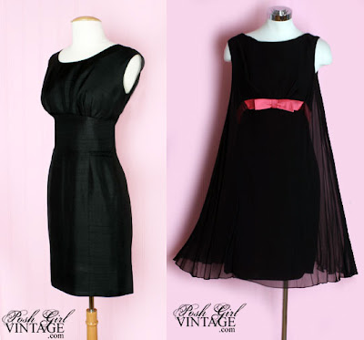 1960's Jacques Heim Little Black Dress; 1960's Black Chiffon Pink Bow Dress