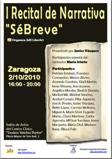 """I Recital de Narrativa en Zaragoza """"Sé breve"""""""