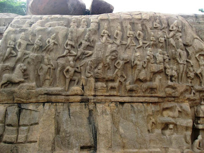 Divine beings watch from the heavens, Arjuna's Penance, Mahabalipuram