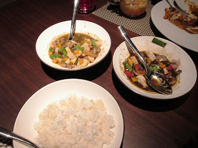 Waterchestnut and Tofu dishes at Shakahari