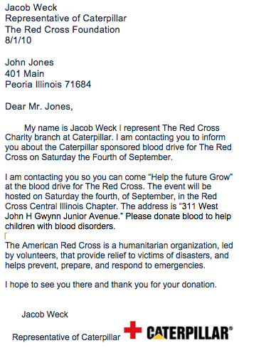JRWeck's blog: Charity letter Example