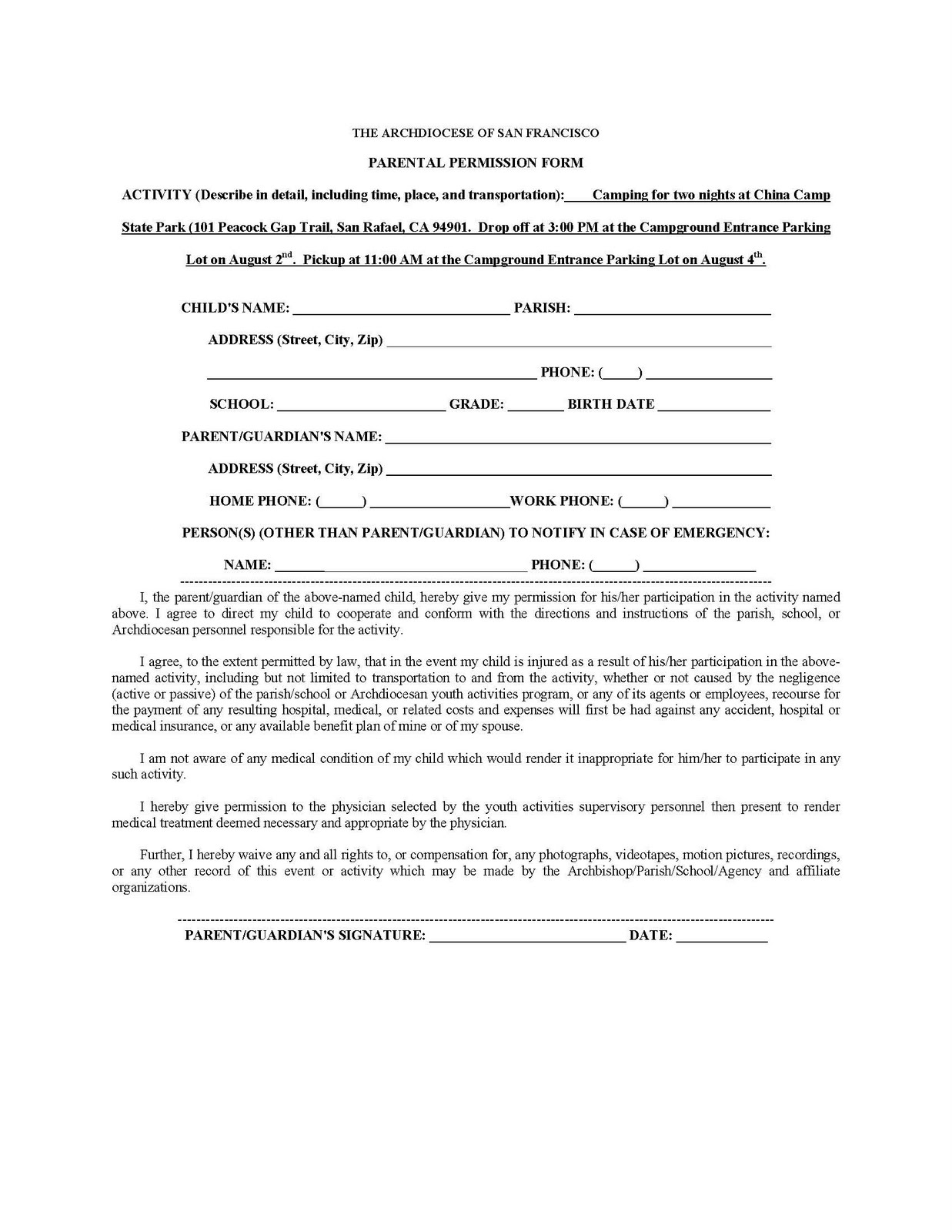 camp permission slip template