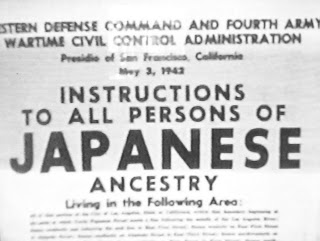 Sign showing World War Two discrimination against Japanese Americans