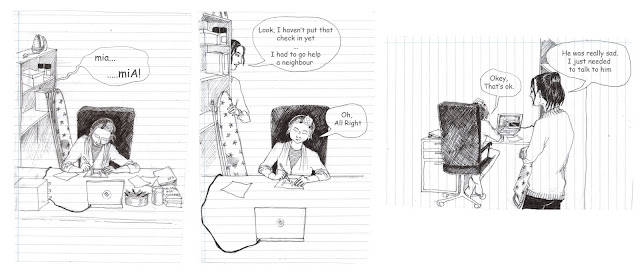 just a ruff first draft of a little comic strip that I am working on.