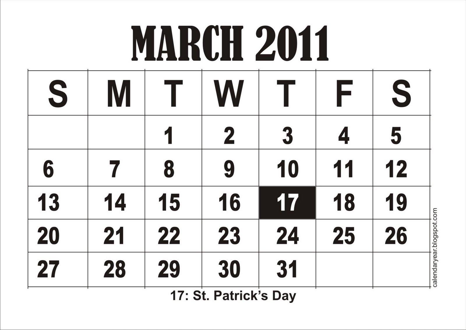 Calendar, Printable, Free: Printable March 2011 Calendar