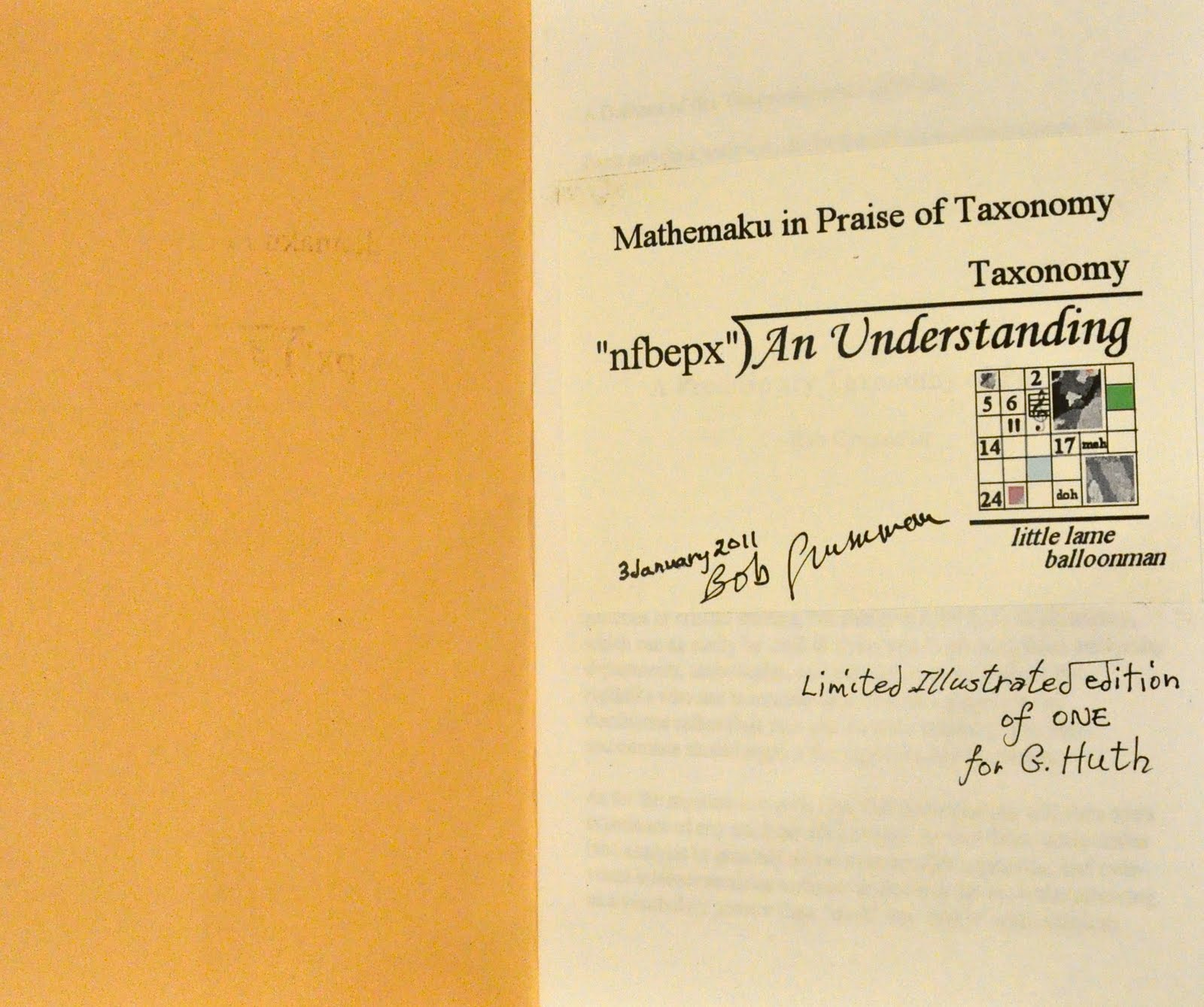 Mathematical Poetry January 2011