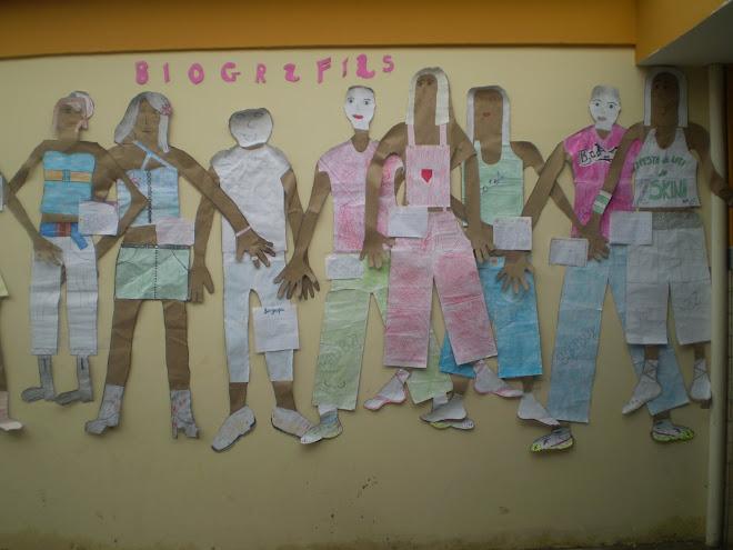 Biografias e Auto retrato dos alunos.