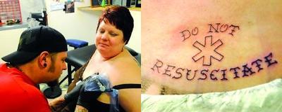 Rachelle Whitley gets Do Not Resuscitate tattoo