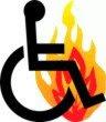 Piktogram: Kørestol og ild