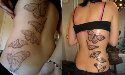 Sommerfugle tatoveringen undervejs