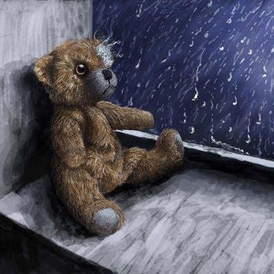 Bamse / teddy-bjørn henkastet i kold vindueskarm
