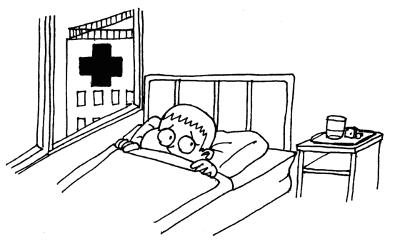 Indlagt/nedlagt i hospitalets seng