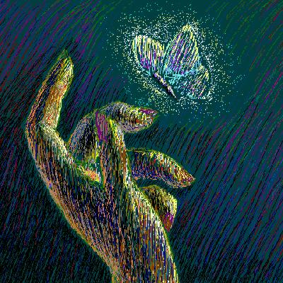 Hånd og sommerfugl