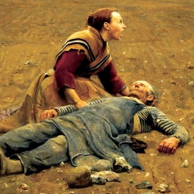 Udsnit af maleri 'Udslidt' af H.A.Brendekilde