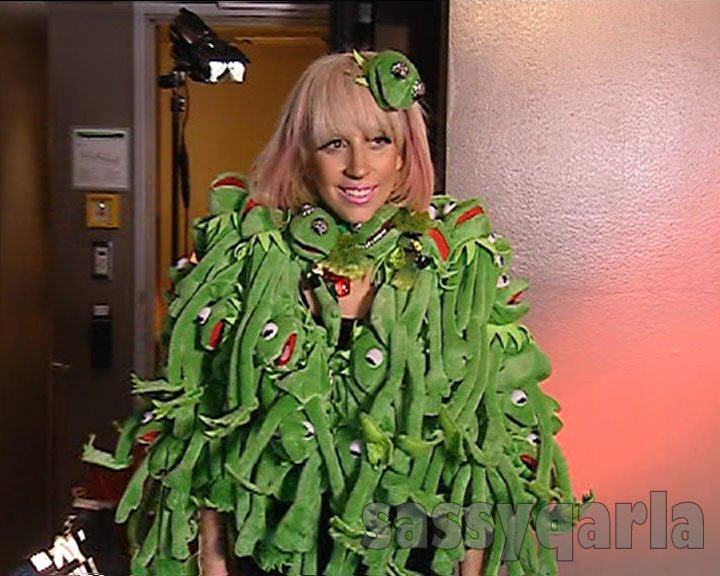 worst fashion lady gaga kermit the frog