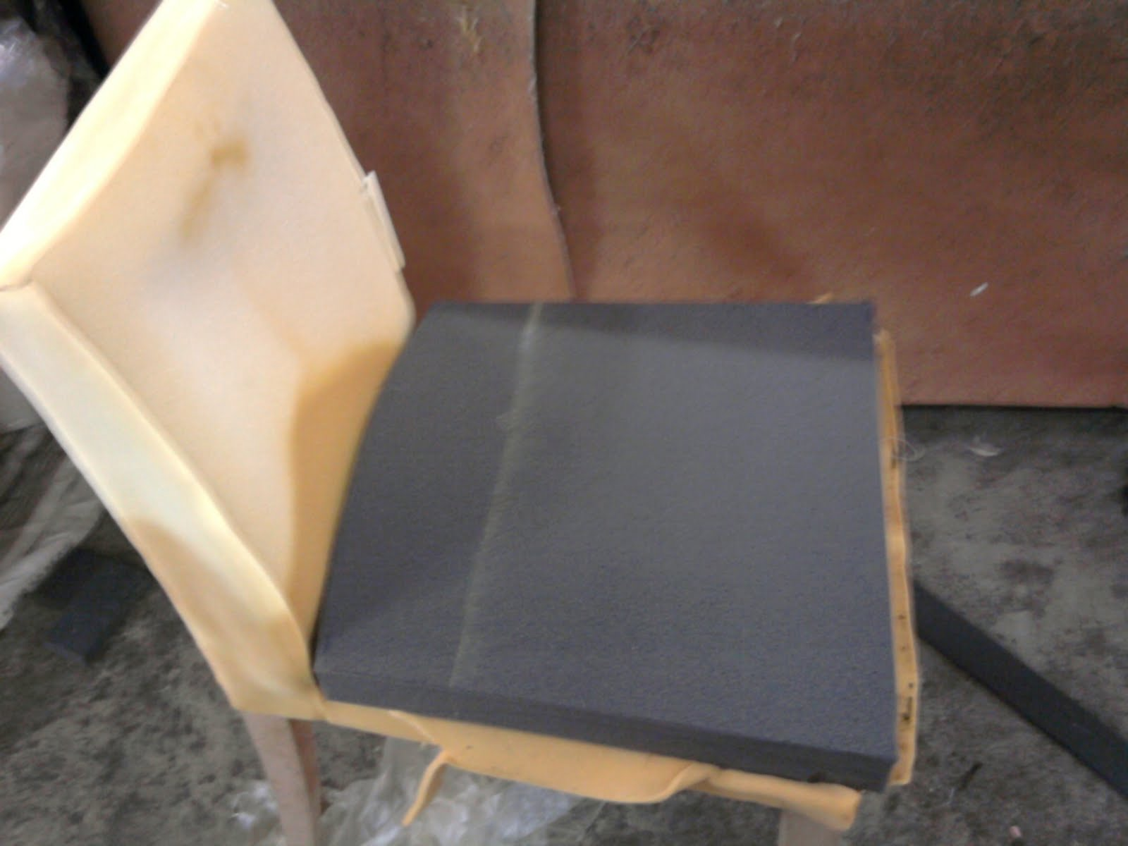 Change Of Black High Density Foam To Revive Chair Seating Firmness.  Replacement Of Elastic Band For Back Cushion