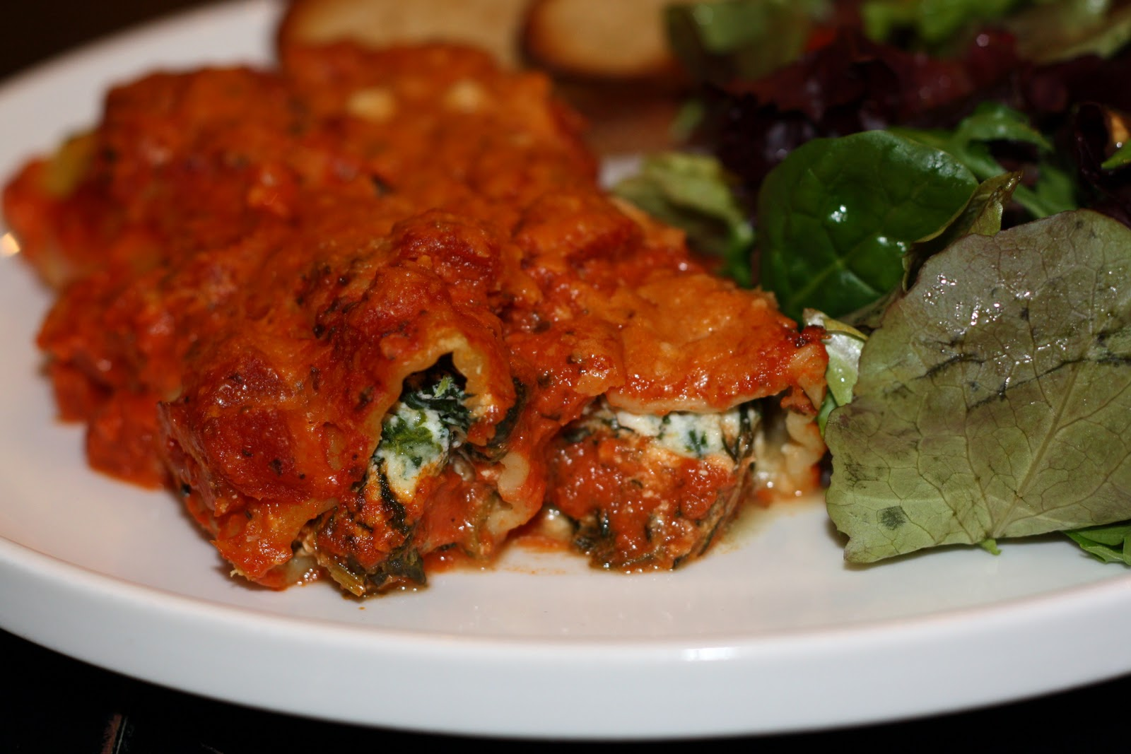 ... for dinner?: spinach manicotti in creamy tomato sauce... 65 minutes