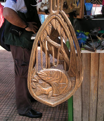 Wood Carving of a Peacock Fish in the Market in Manaus, Brazil