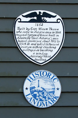 Plaque on the Hiram Brown House, Astoria, Oregon