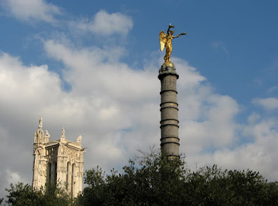 Tour St-Jacques and Napoleon's Victory Column, Place du Chatelet, Paris