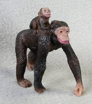 Chimpanzee Mom and Baby Plastic Replica