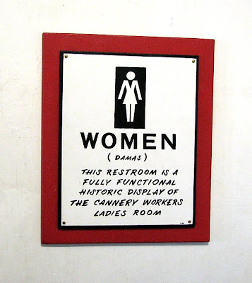 Sign on the bathroom, Pier 39, Astoria, Oregon