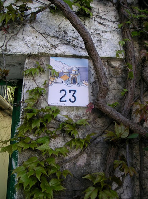 A ceramic tile house number, Ravello, Italy
