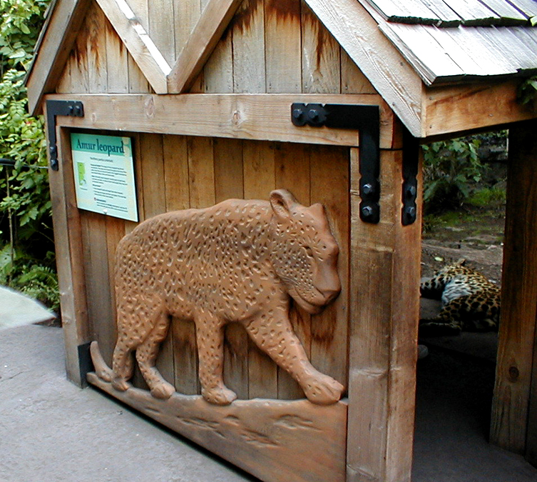 Carving of Amur Leopard, Oregon Zoo