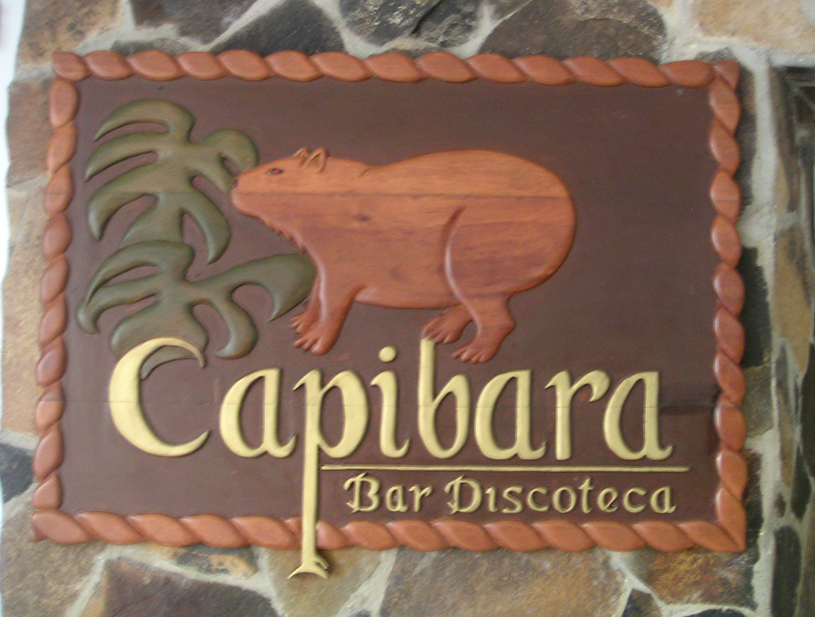 Capybara/Capibara on a sign at Gamboa Rainforest Resort