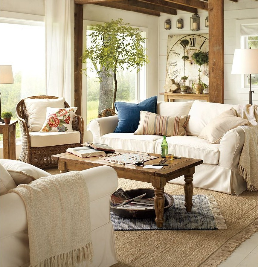 Camilla at home koselig stue for Pottery barn style living room ideas
