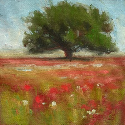 Red Poppy Flowers under the Oak Tree Oil Painting