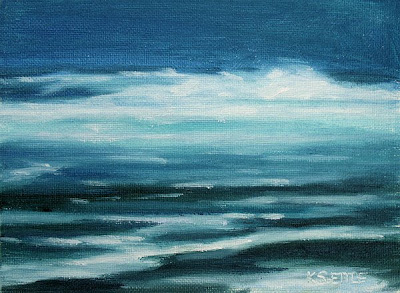 Blue Ocean Waves at Night Original Oil Painting by Kerri Settle