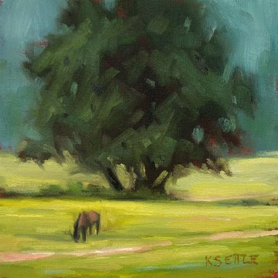 Horse Grazing in a Blue Ridge Mountain Valley Small Original Oil Painting