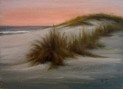 Grassy Beach Dunes Oil Painting by Kerri Settle