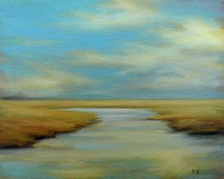 Marsh sky oil painting art by Kerri Settle