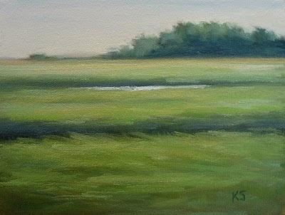 Hammocks marsh view oil painting by Kerri Settle