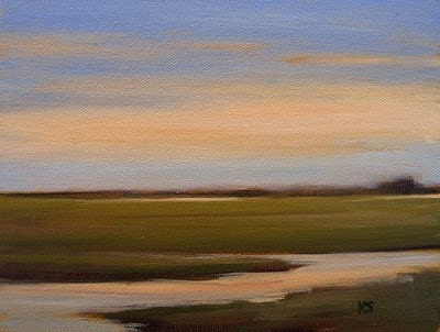 Marsh Evening Sky Oil Painting by Kerri Settle