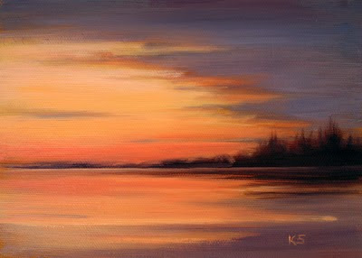 Sunset over lake oil painting by Kerri Settle