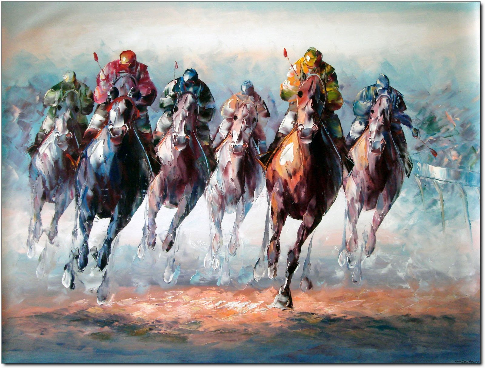 The gallery for horse racing paintings for Animal oil paintings