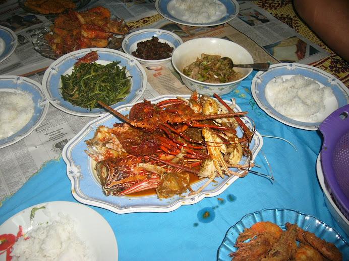 udang saiz L goreng tepung berempah + lobster saiz L masak paes kukus