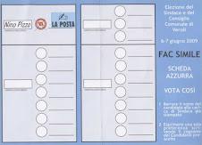 Elezioni Veroli 2009 FAC SIMILE. SCHEDA AZZURRA