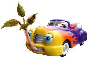 Caricature de voiture avec bouche nourrie par un tuyau où s'écoulent des plantes