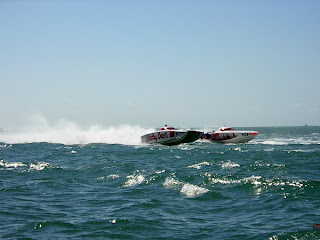 Power boats speeding past Key West hotel